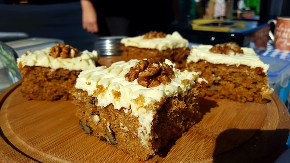 Home baked cakes at the Bude Farmers Market Bude Cornwall the south of England