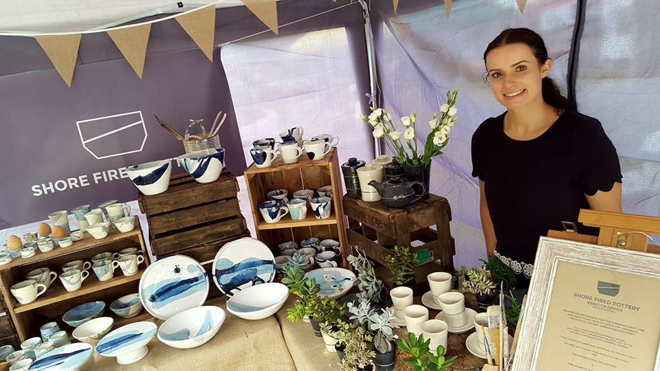 Shore Fired artisan pottery at the Bude Farmers Market Cornwall